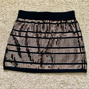 Forever 21 Black Fitted Mini Skirt w/ Gold Sequins